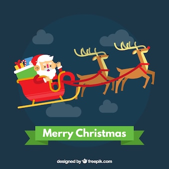 Merry christmas background with santa claus on a sledge