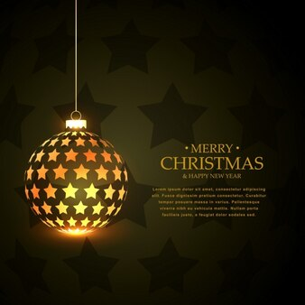 Merry christmas background with shiny ball made of stars