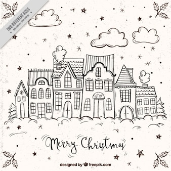 Merry christmas background with sketches of facades