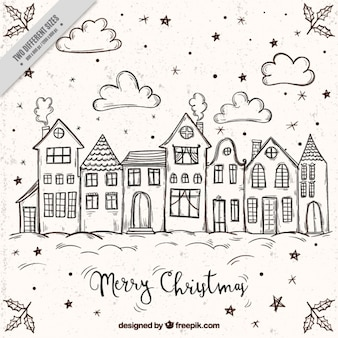 Merry christmas background with sketches of houses
