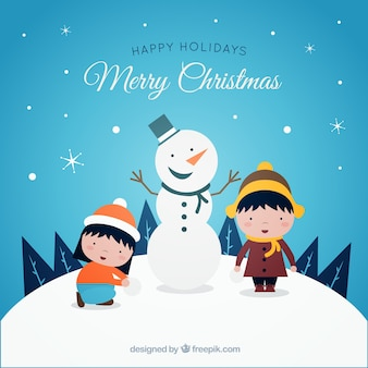 Merry christmas background with snowman and children