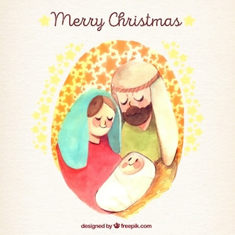 Merry christmas background with watercolor nativity scene illustration