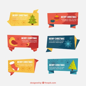 Merry christmas banners in origami style