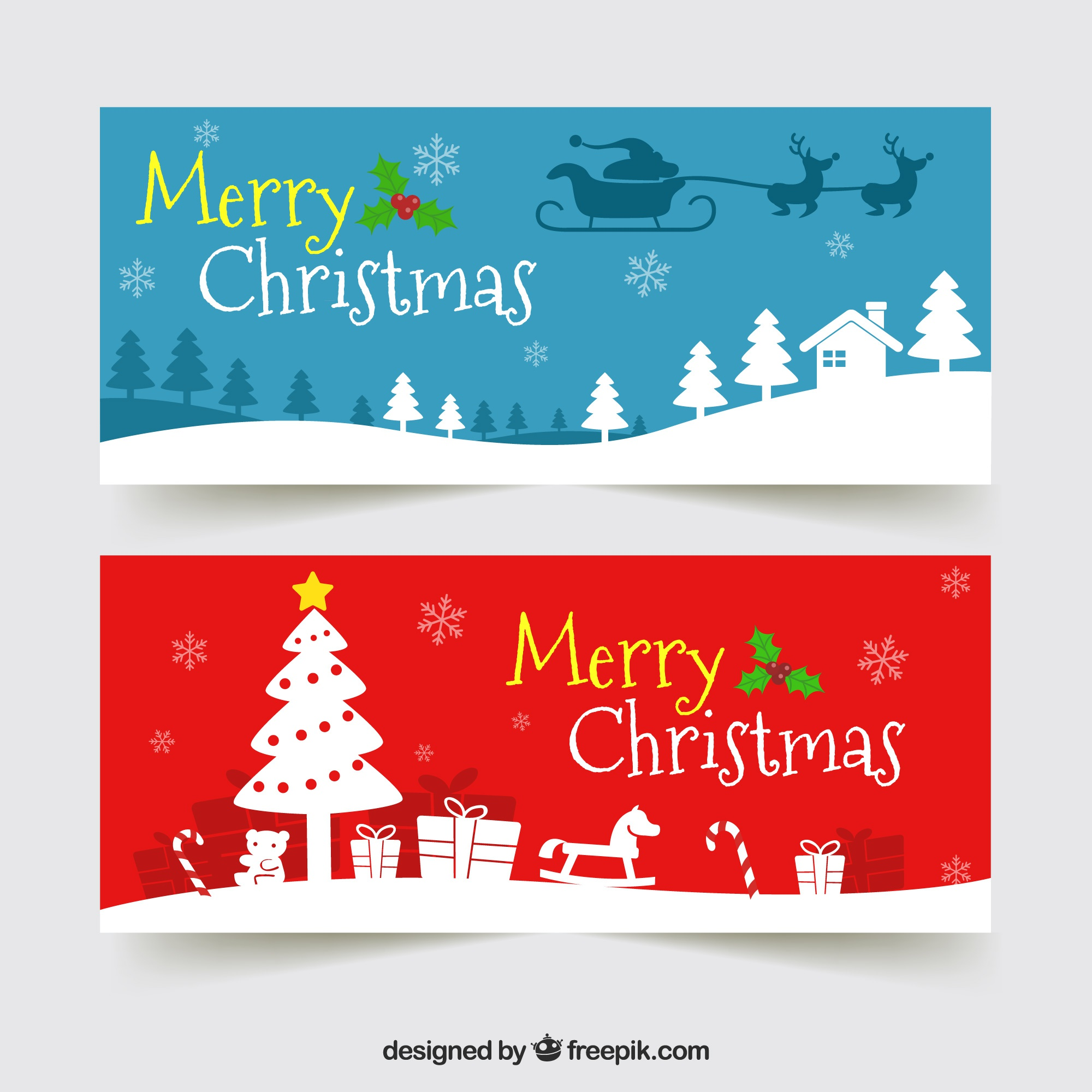 Merry christmas banners with silhouettes