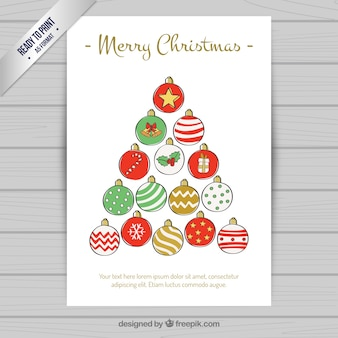 Merry christmas card with baubles