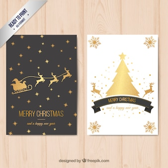 Merry christmas card with golden decoration