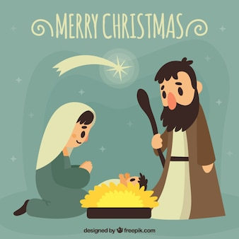 Merry christmas card with nativity scene in vintage style