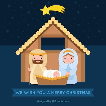 Merry christmas card with nativity scene