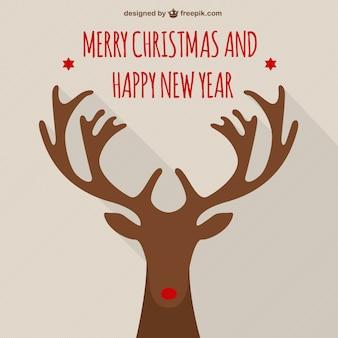 Merry Christmas card with Rudolf