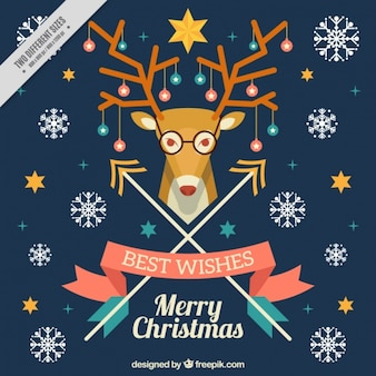 Merry christmas card with snowflakes and reindeer hipster