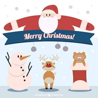 Merry christmas characters illustration