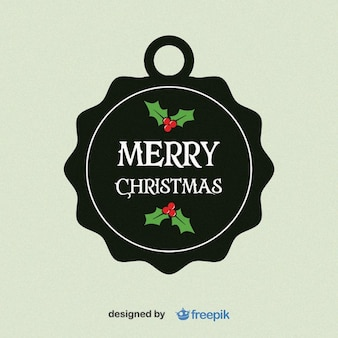 Merry Christmas, Circular Label with Holly Leaves in the bottom and upper
