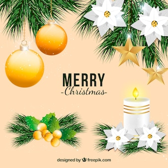 Merry christmas collection with golden ornament