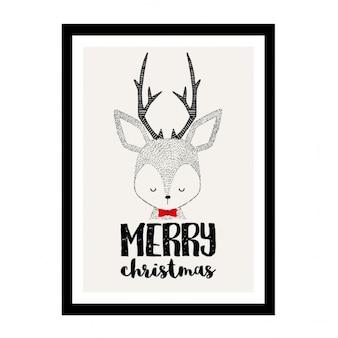 Merry christmas, cute reindeer in a frame