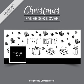 Merry christmas facebook cover with sketches of hearts and gifts