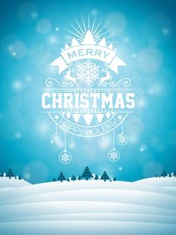 冬の風景の背景にタイポグラフィーと装飾の装飾とメリークリスマスのイラスト。ベクトルクリスマスホリデーチラシまたはポスターデザイン。