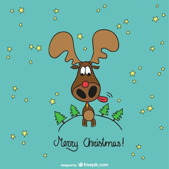 Merry Christmas moose cartoon