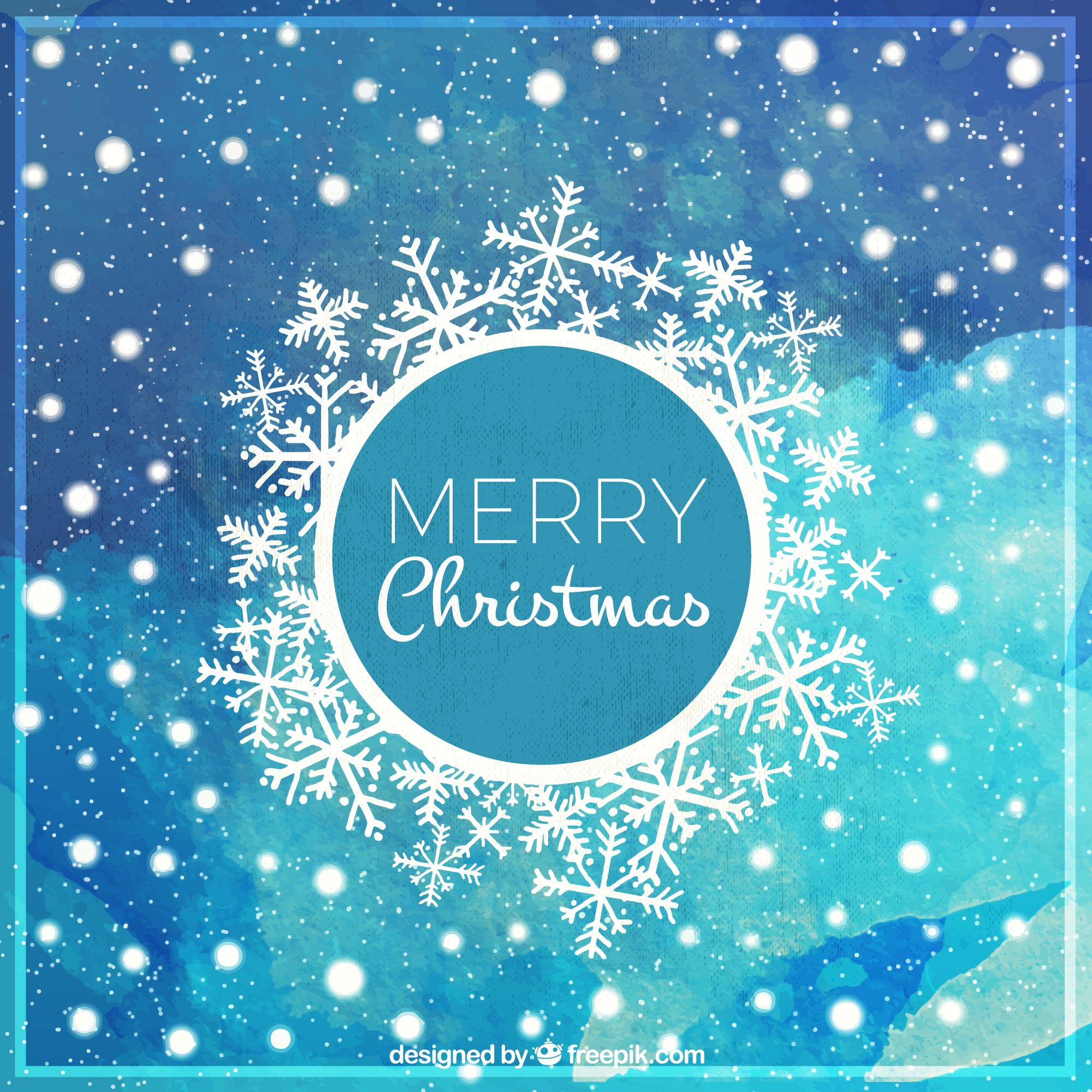 Merry christmas watercolor card with snowflakes