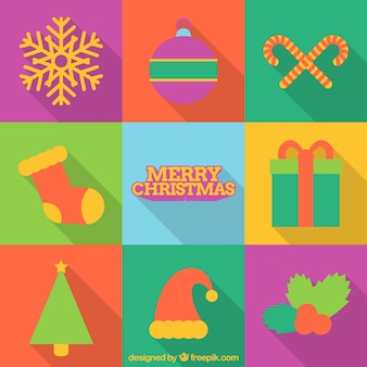 Merry christmas with a great set of elements in flat style