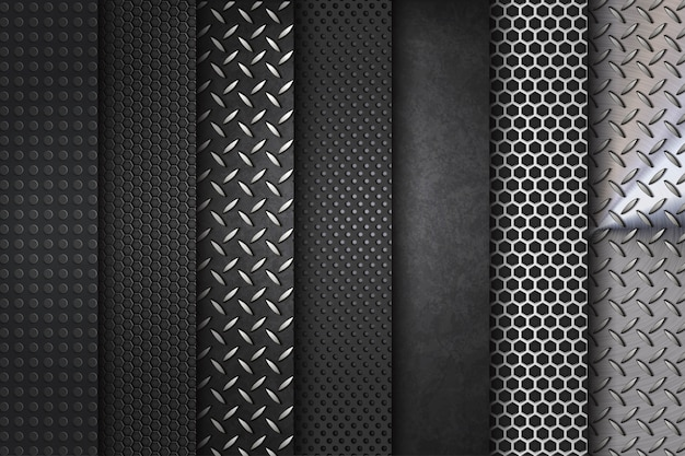 Metal background steel set collection