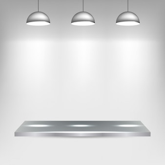 Metal shelf with spotlights