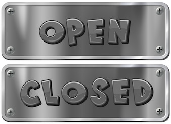 Metal signs for open and closed