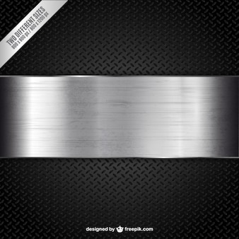 Metallic banner on black textured background