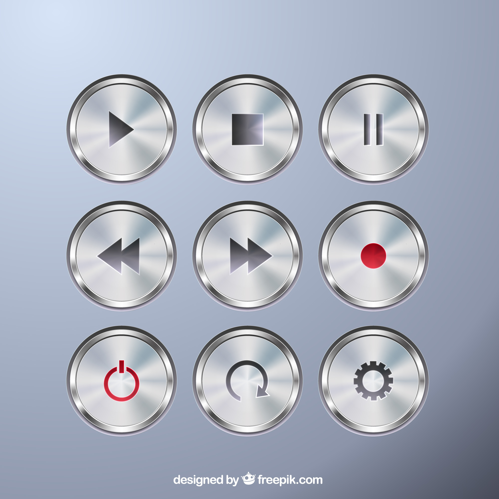 Metallic buttons collection