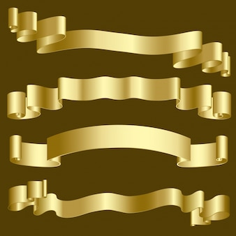 Metallic gold ribbons and banners