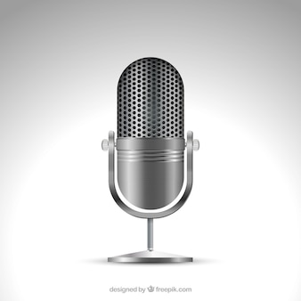 Metallic microphone in realistic style