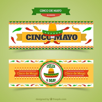 Mexican banners of cinco de mayo