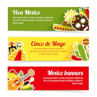 Mexican banners set