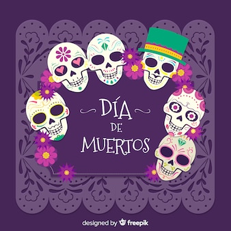 Mexican dia de los muertos skull background