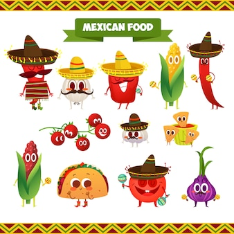 Mexican food characteres collection
