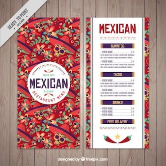 Mexican menu template of skulls