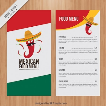 Mexican menu with funny chili