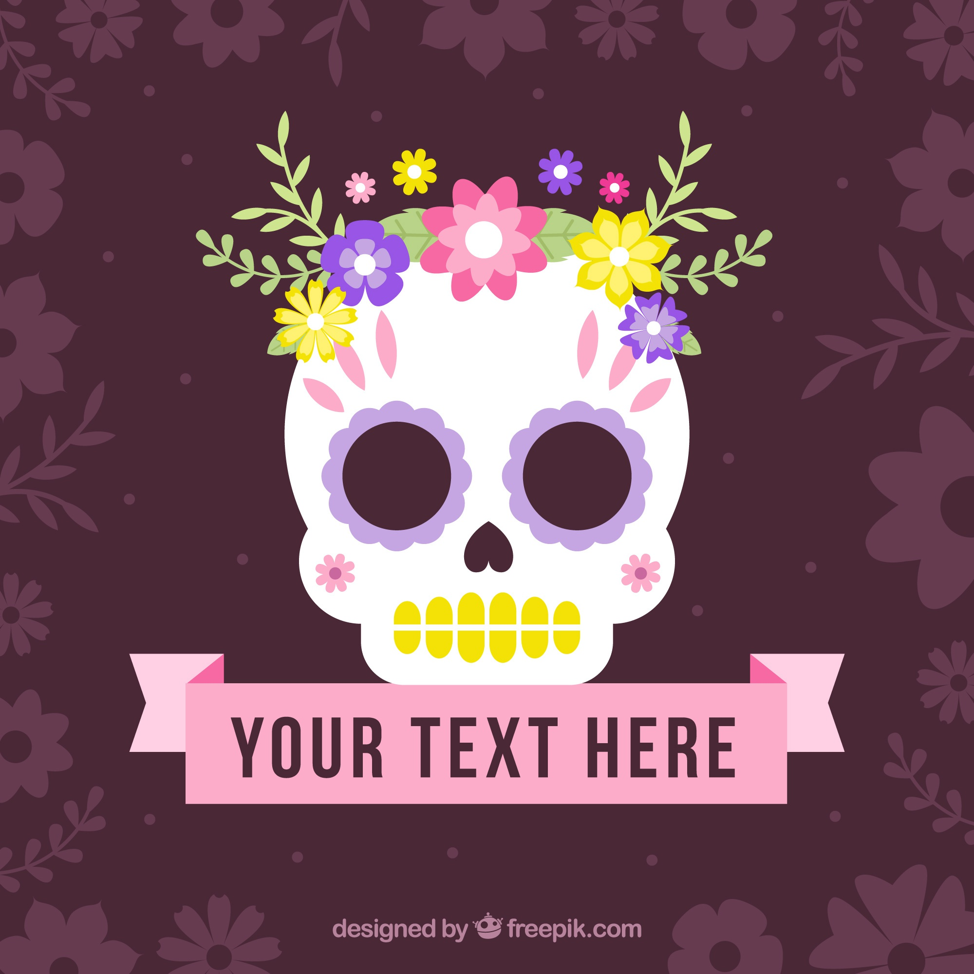 Mexican skull background with flowers and ribbon