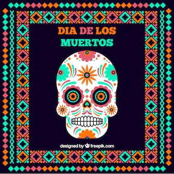 Mexican skull background with frame in flat design