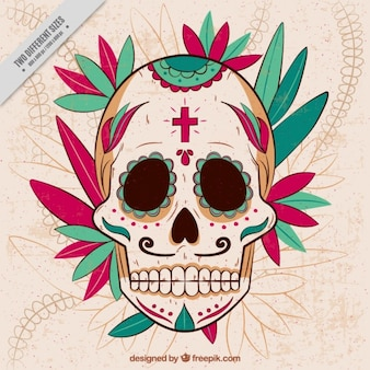 Mexican skull background with hand drawn ornaments