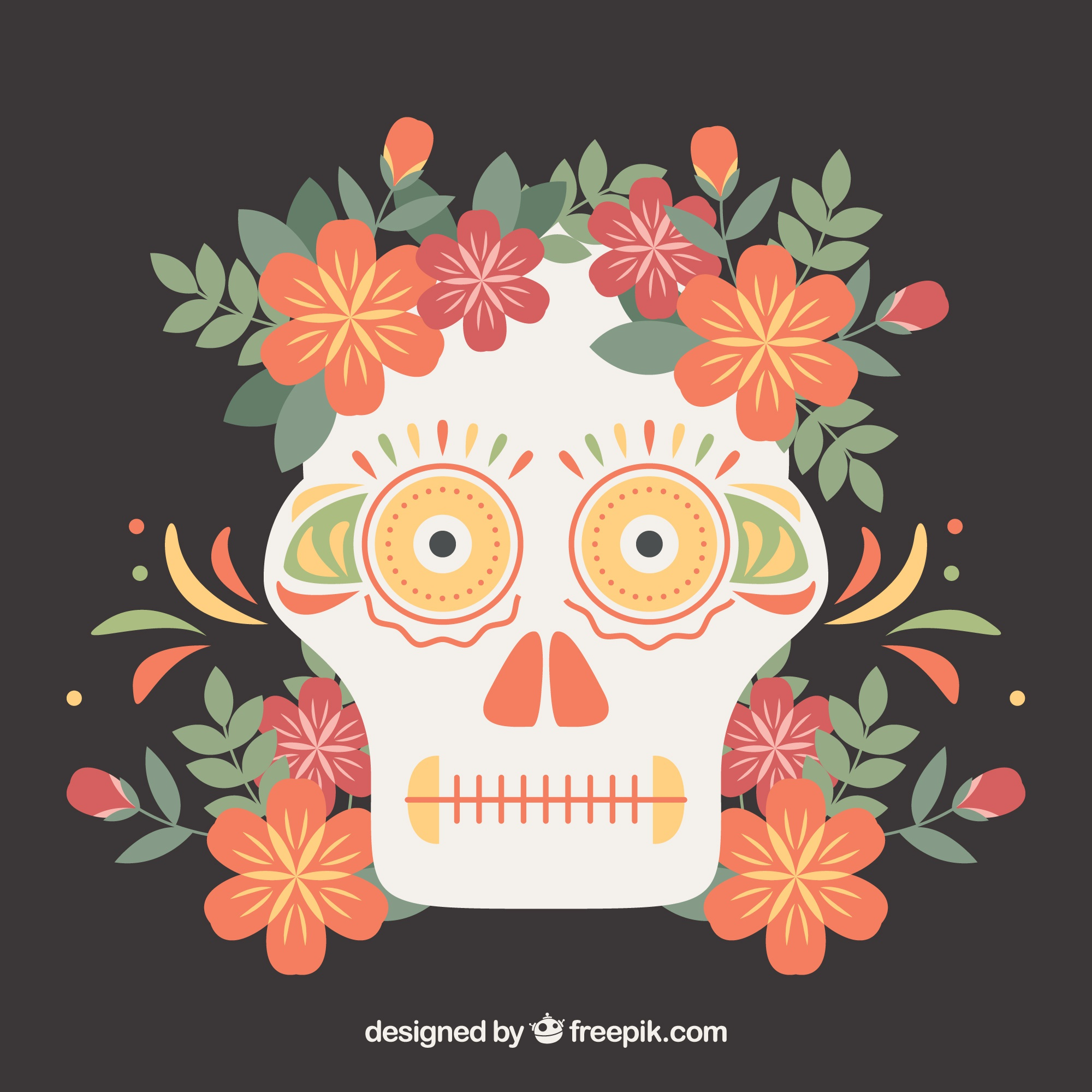 Mexican skull flower background in flat design