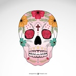 Mexican skull with flowers