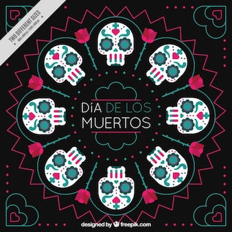 Mexican skulls abstract background