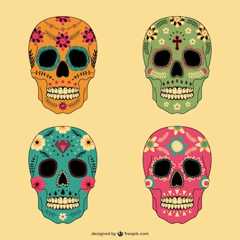 Mexican skulls set in different colors