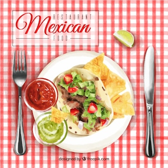 Mexican watercolor food menu background