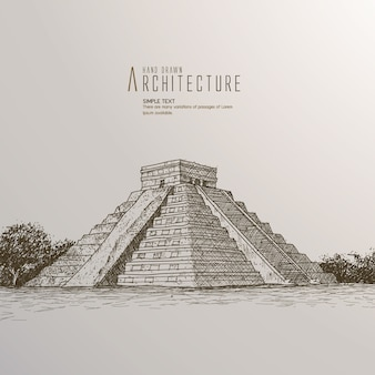 Mexico. Chichen Itza.Kukulkan. Hand drawn illustration.