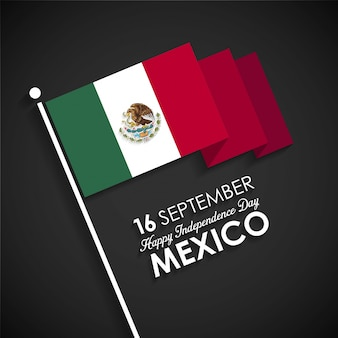 Mexico flag on a black background for independence day