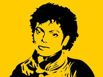 michael jackson face in solid color