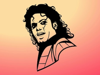 Michael jackson with curly hair vector