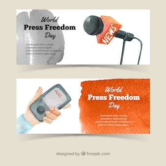 Microphone and mobile watercolor banners