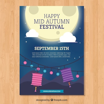 Mid autumn festival poster with moon shine